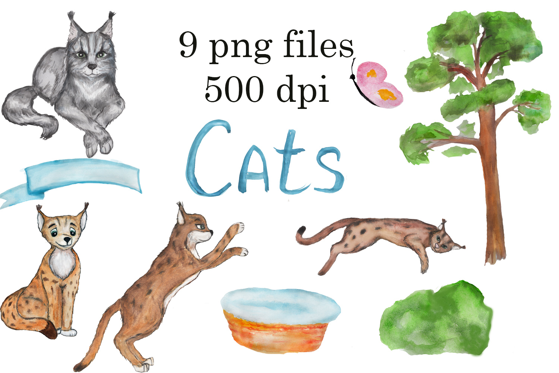 Grumpy cat clipart, savannah cat, lynx clipart, Maine coon example image 5