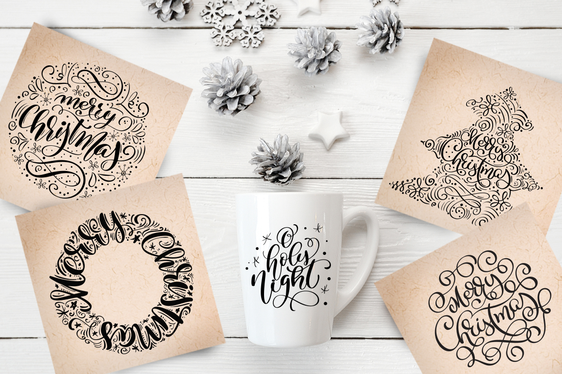Christmas Lettering Phrases svg example image 4