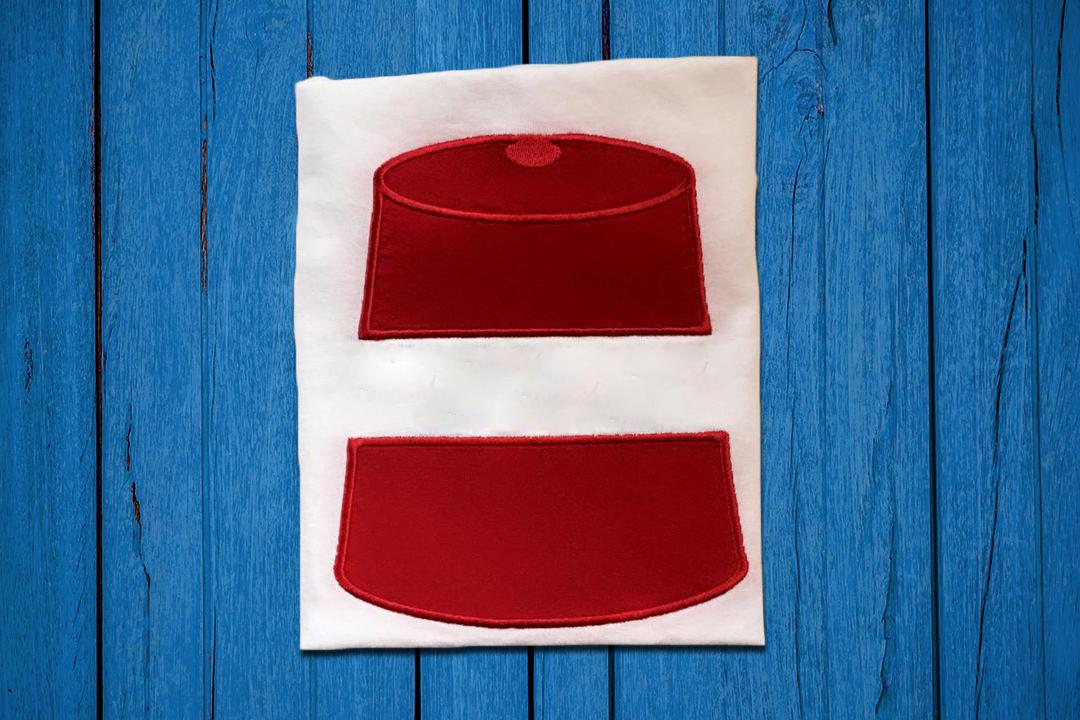 Fez Hat Split Applique Embroidery Design example image 1