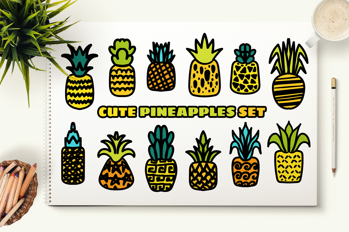 Cute Hand Drawn Pineapples Set example image 5