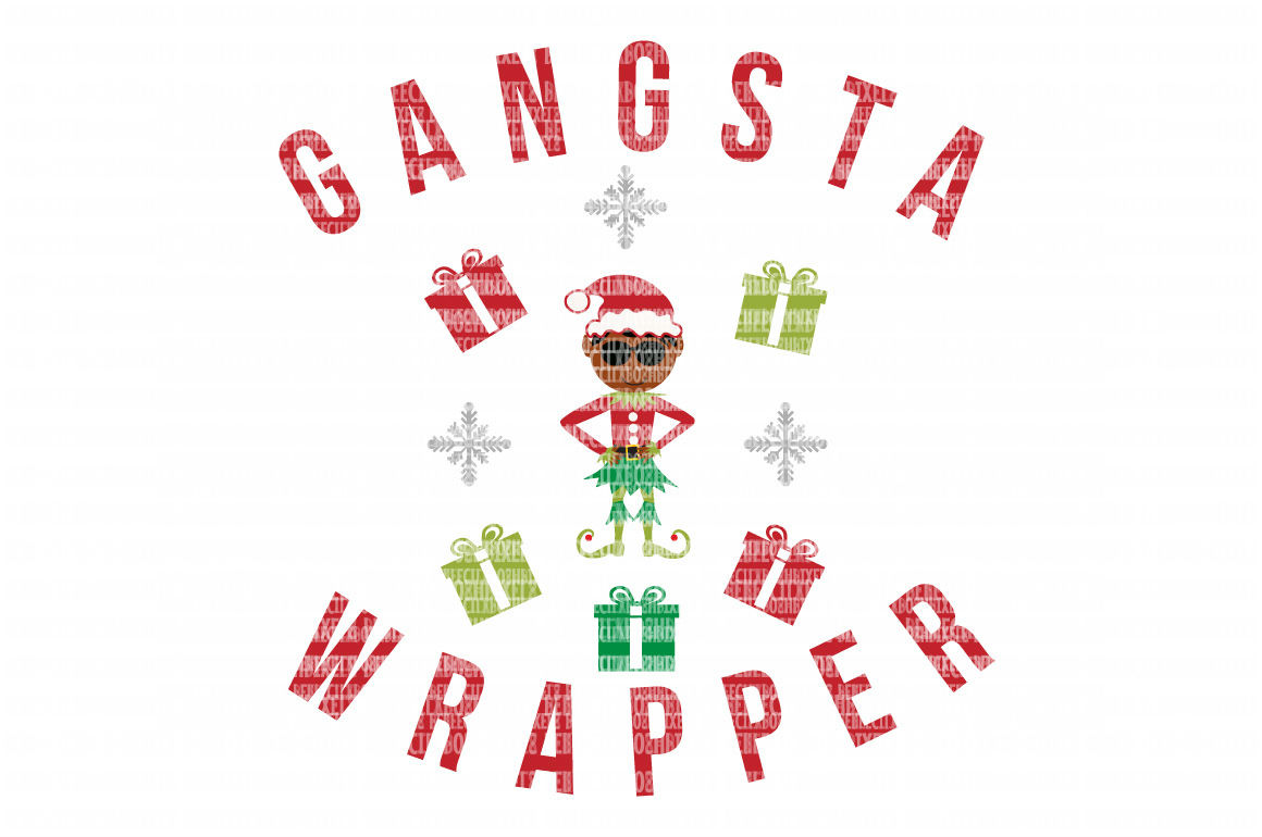 Gangsta Wrapper Christmas SVG Files Monogram Frame Cut Files Heat Transfer Vinyl Scrapbooking Stencil EPS DXF Silhouette Cameo Cricut Commercial Use example image 1