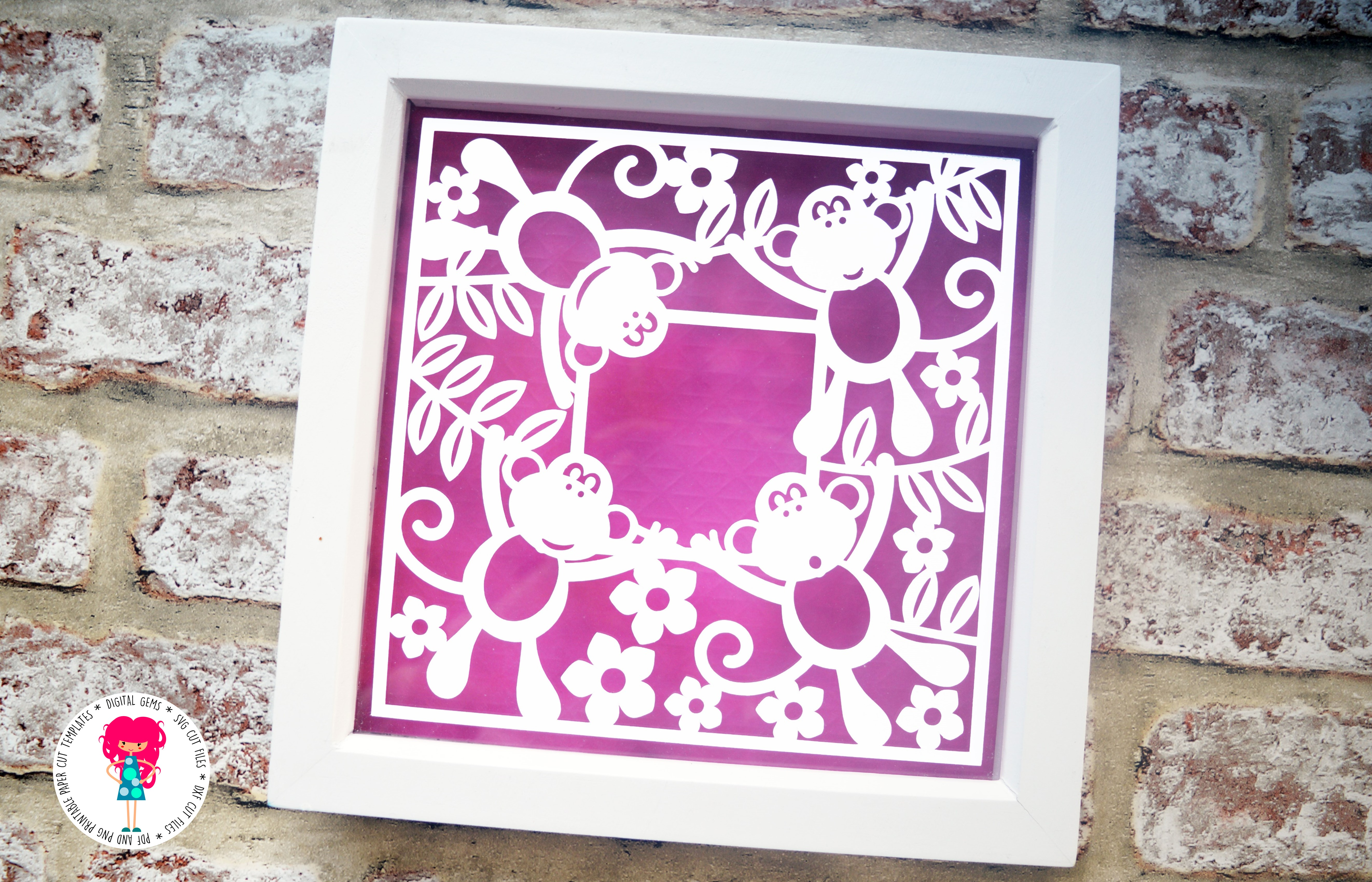 Monkey Frame paper cut SVG  DXF  EPS files example image 4