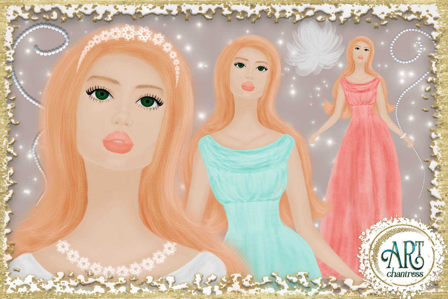 Wedding party, bride clipart in white, coral and teal example image 4