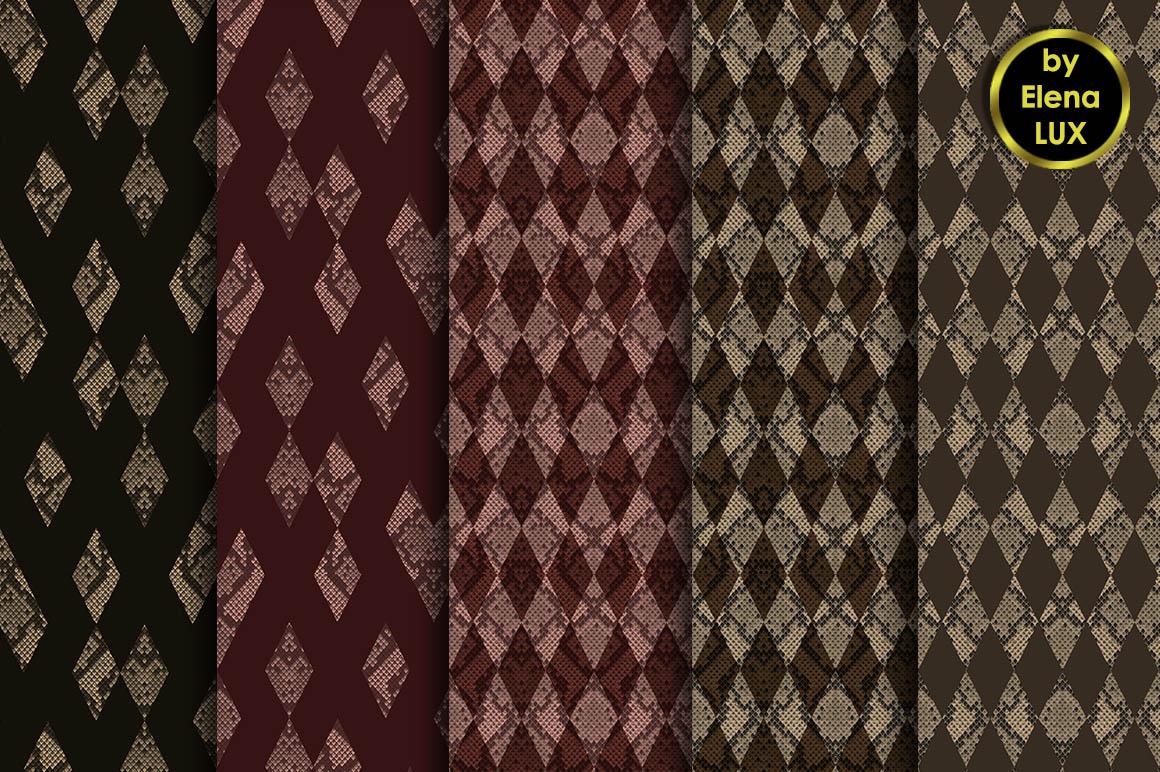 Snakeskin Seamless Patterns Set example image 3