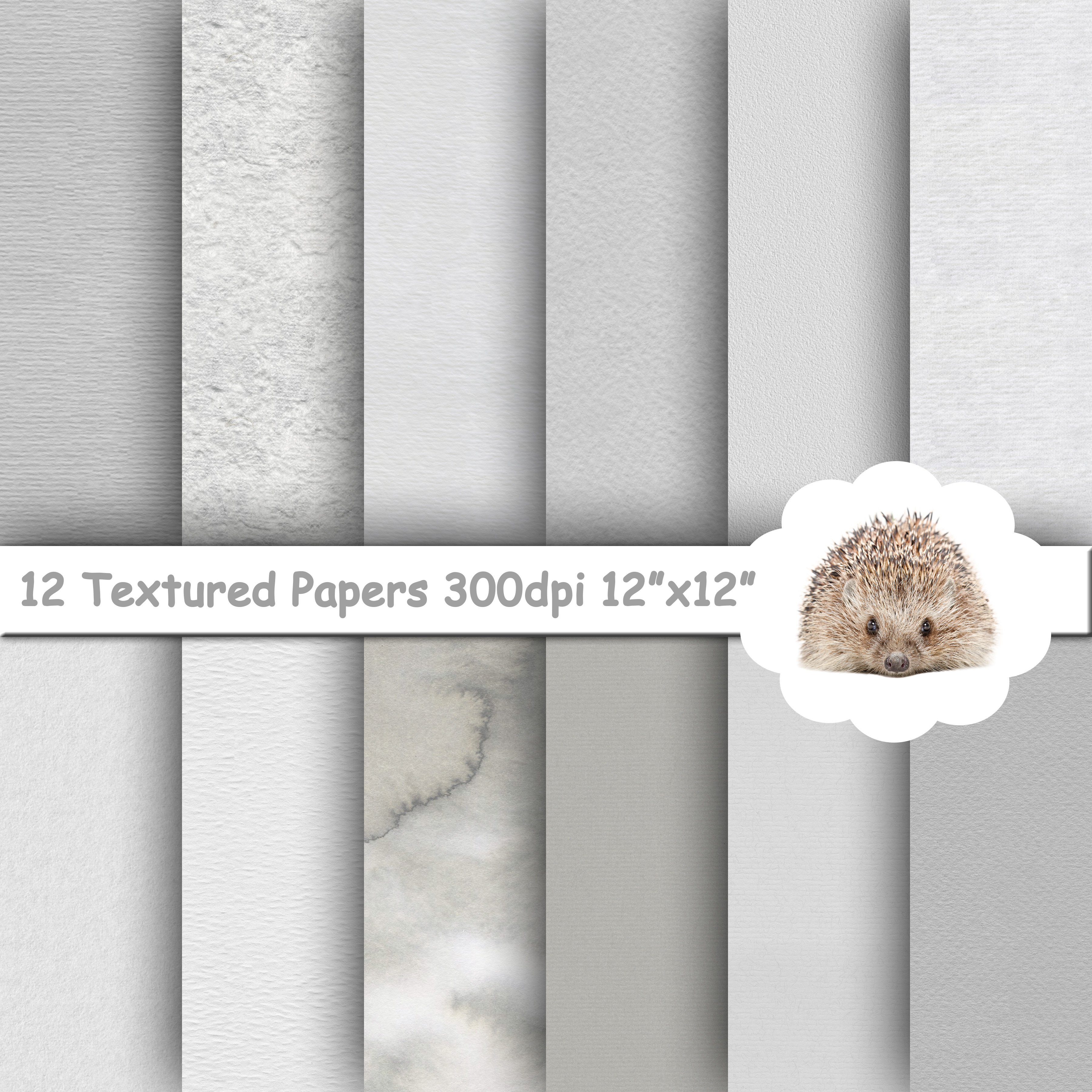 12 Grey Textured Papers / Backgrounds example image 1
