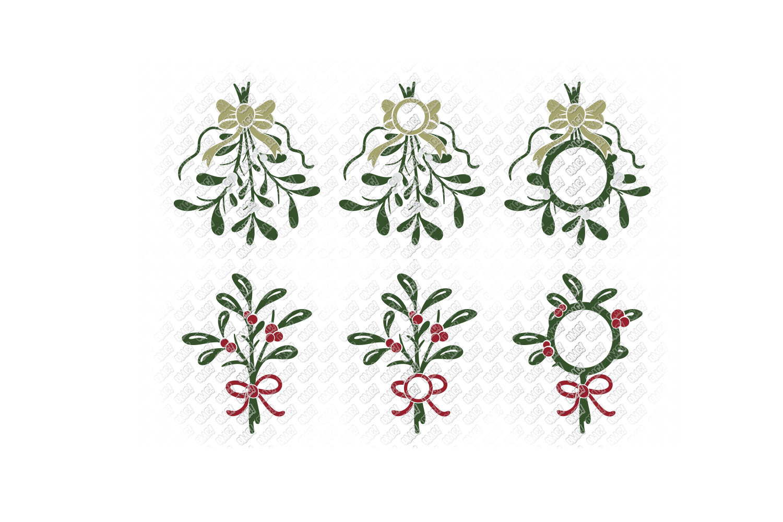 Mistletoe SVG Monogram Christmas in SVG, DXF, PNG, EPS, JPEG example image 7