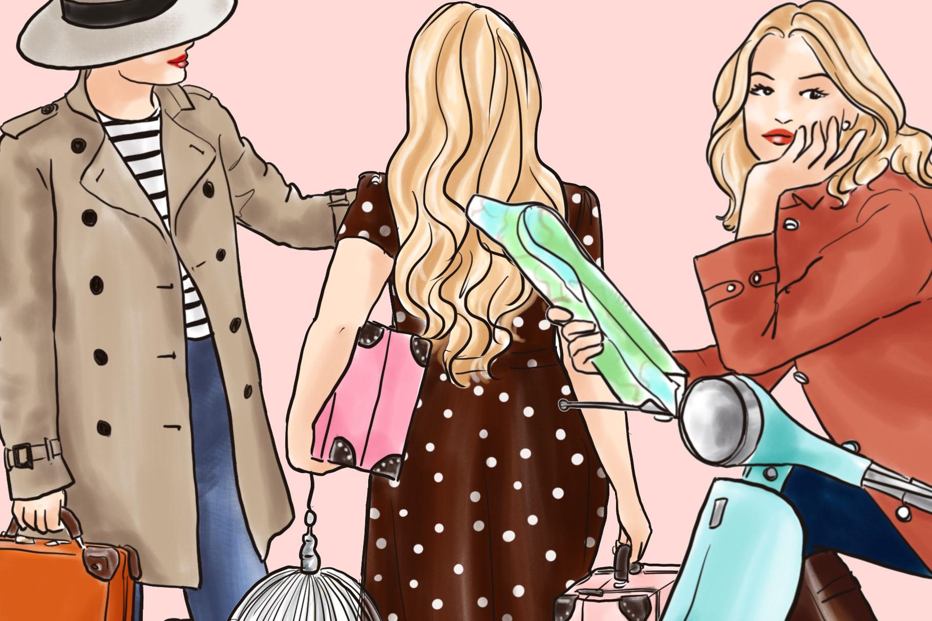 Fashion illustration clipart - Travel Girls 3 - Light Skin example image 3
