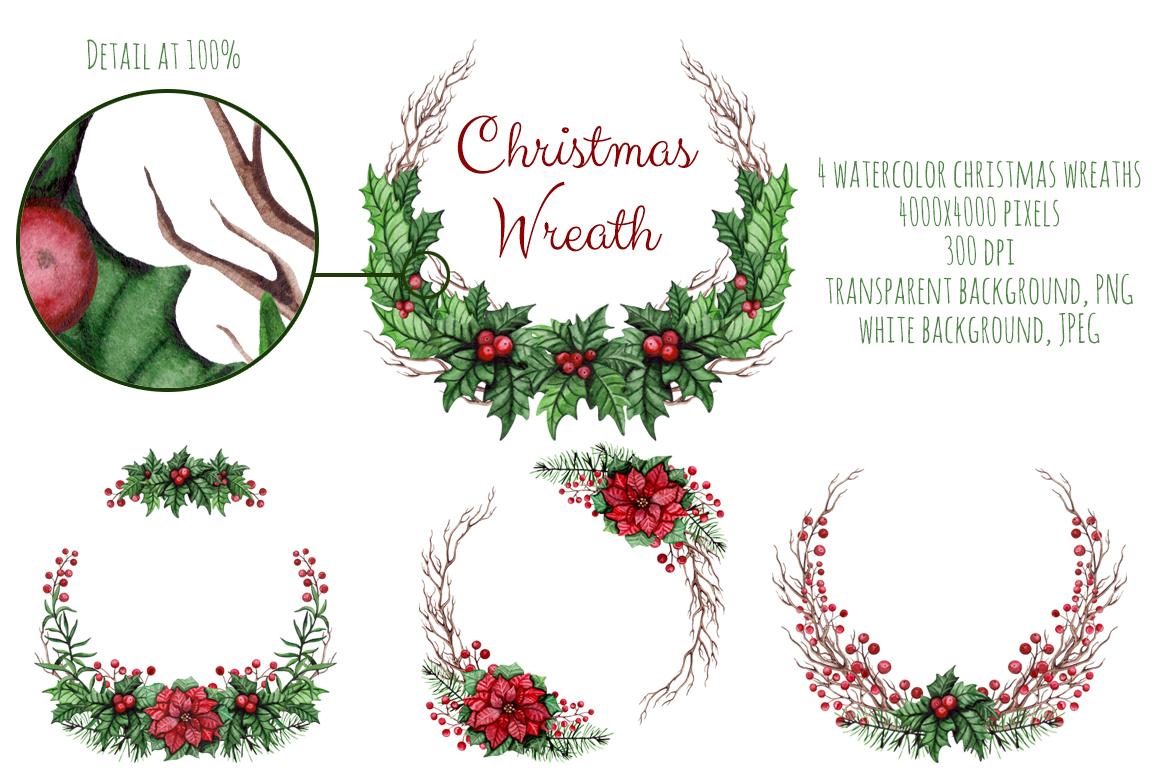 Watercolor Christmas Wreath Png.Christmas Watercolor Set