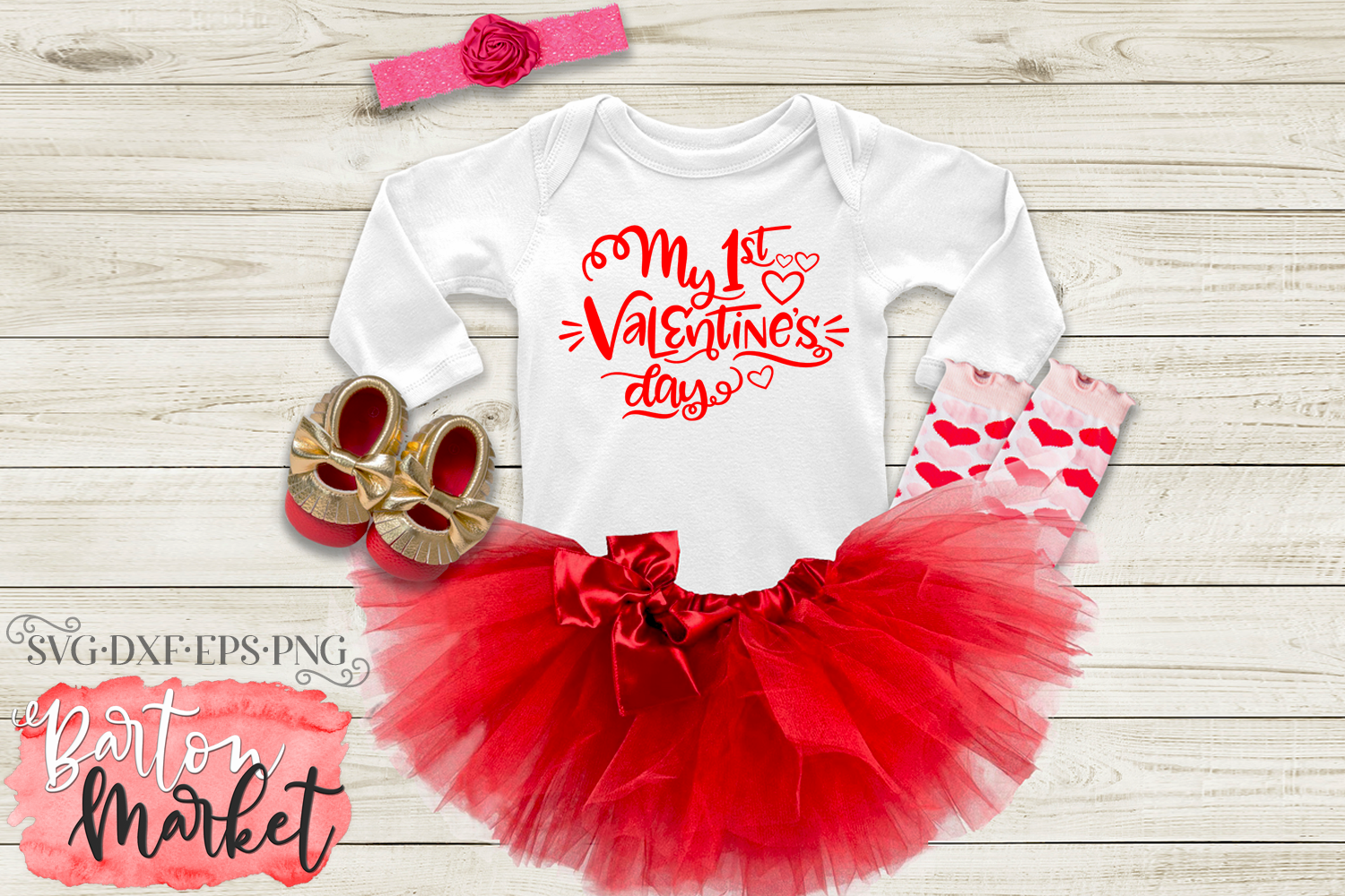My 1st Valentine's Day SVG DXF EPS PNG example image 1