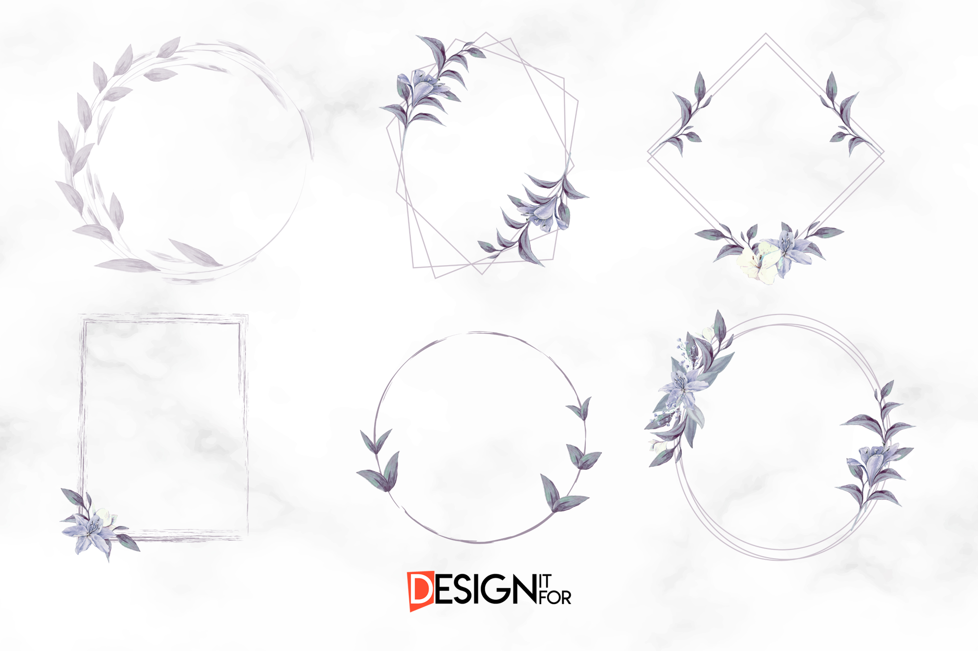 Floral Frame Clipart, Laurel Wreath, clip art, scrapbooking example image 3