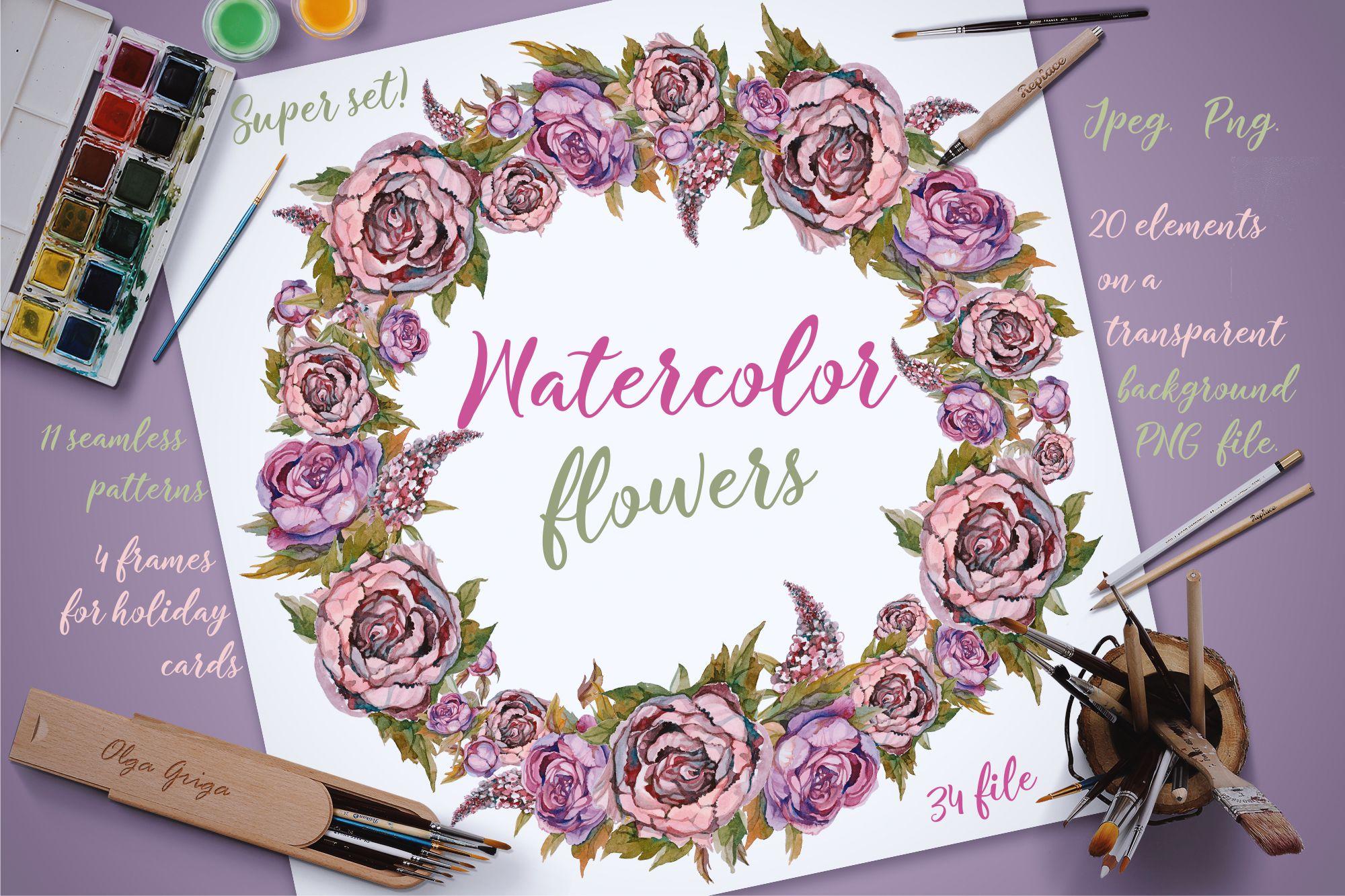 Watercolor flowers. Set of vintage flowers, painting. example image 1