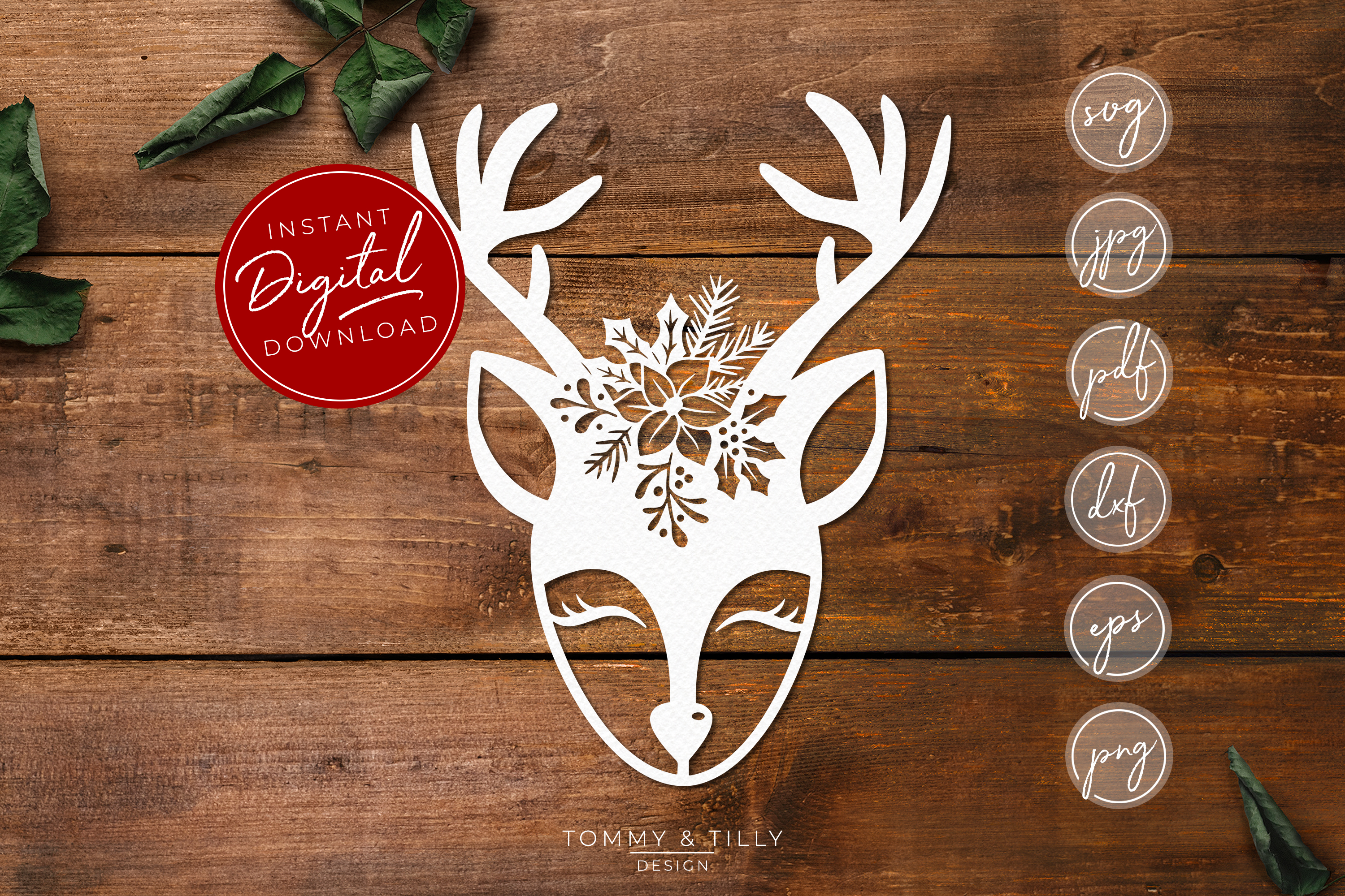 Cute Christmas Deer - SVG EPS DXF PNG PDF JPG example image 1