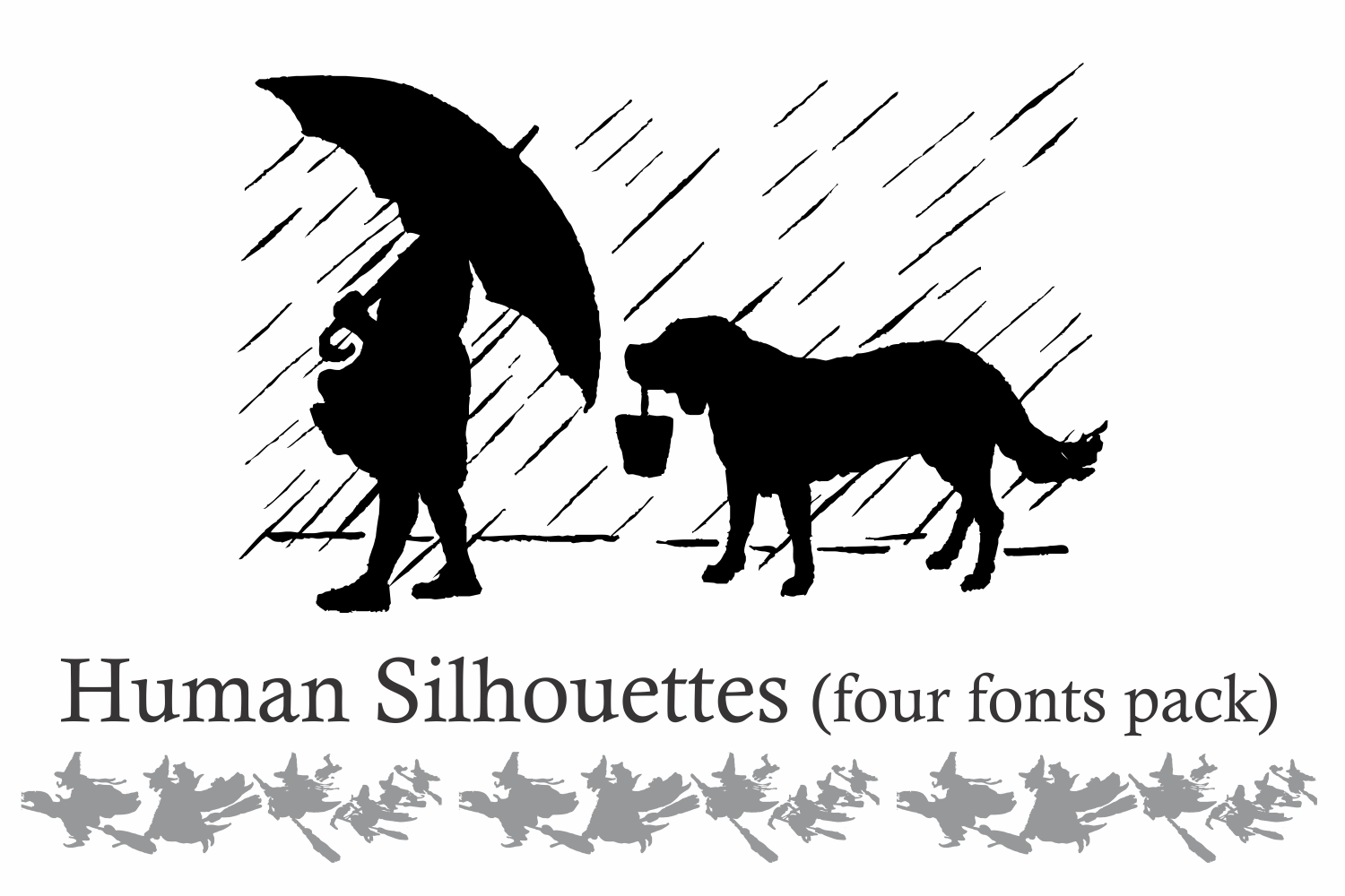 Human Silhouettes Pack - 4 Fonts example image 3