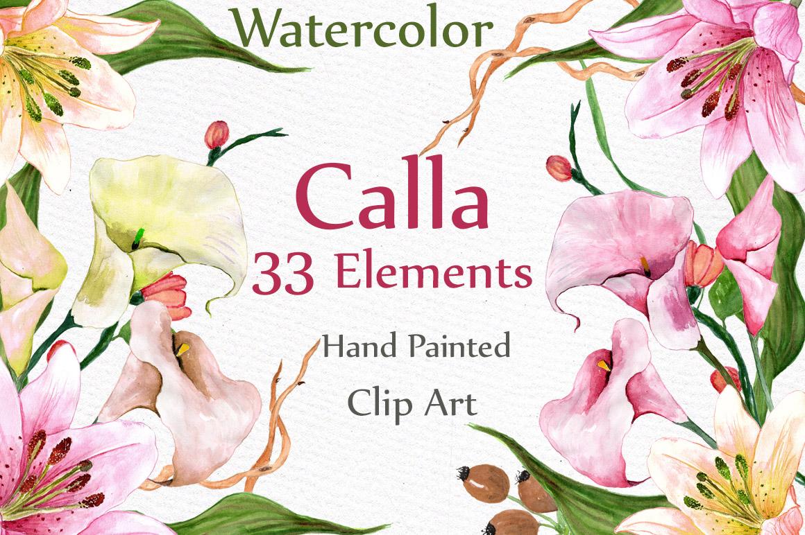 Watercolor floral clip art example image 1