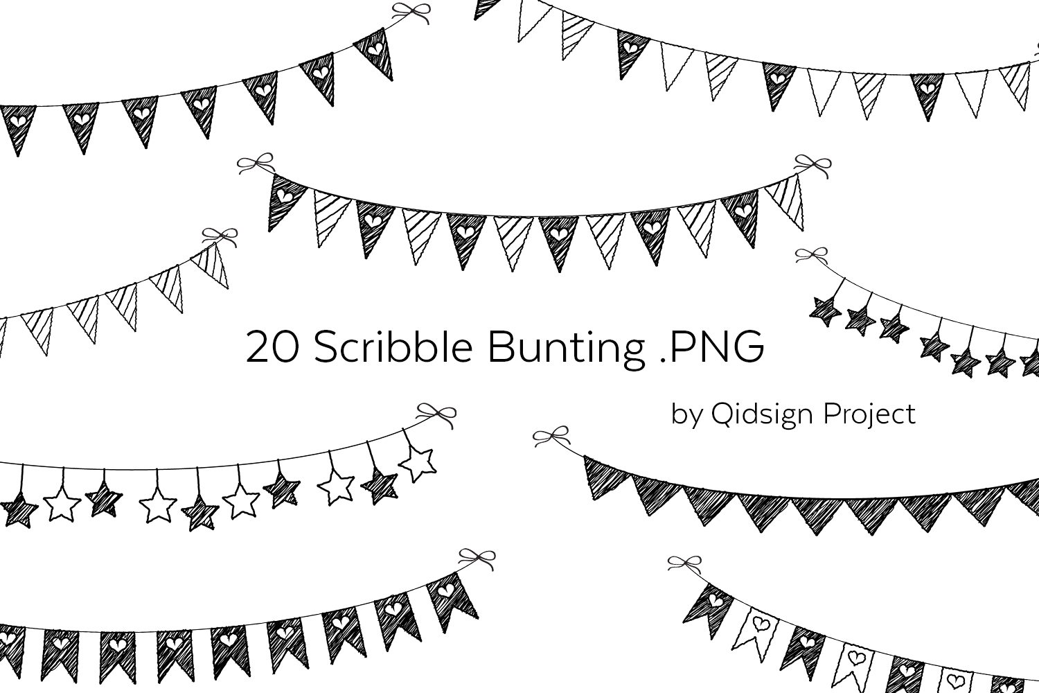 20 Scribble Bunting .PNG | Birthday Clipart example image 1