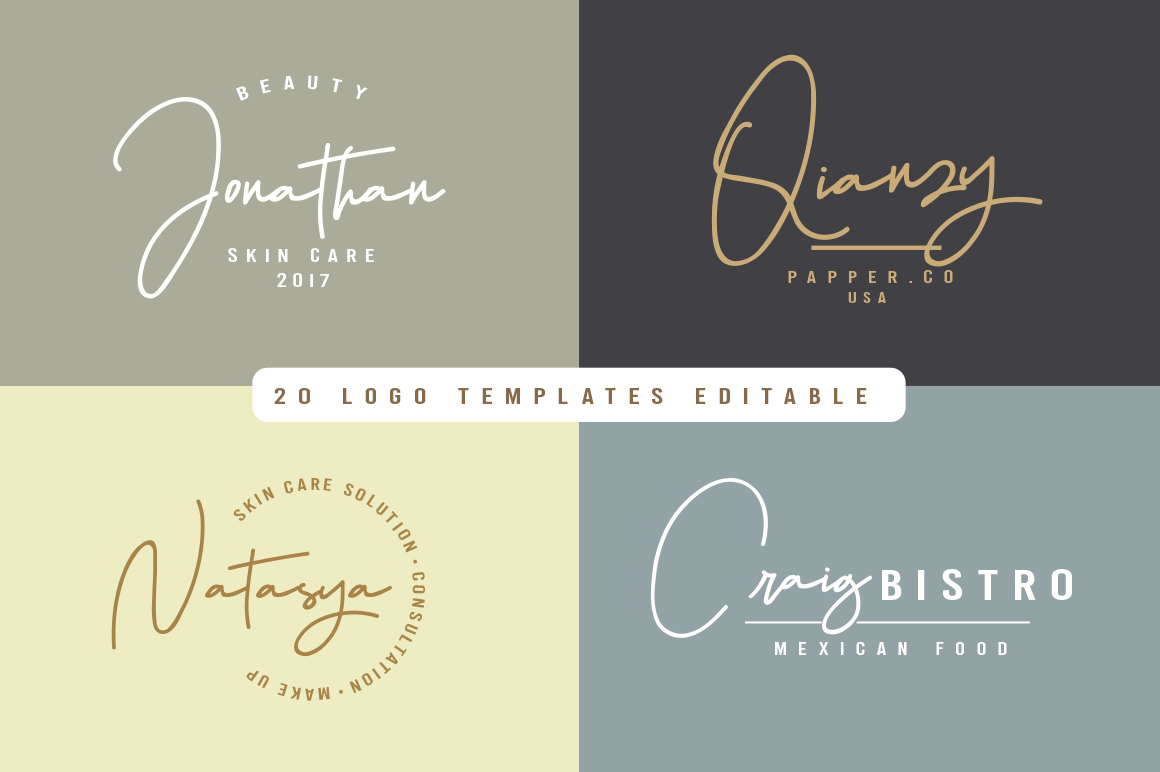 Hellena Jeslyn Signature Font Duo Free Logo example image 4