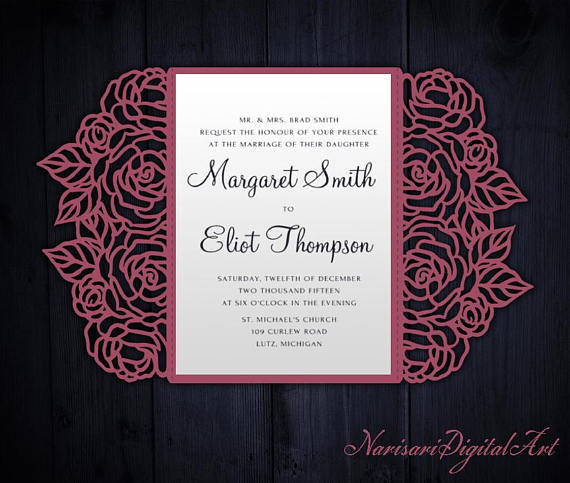 roses gate fold card 5x7  cricut template  wedding invitation envelope  svg  dxf  cricut