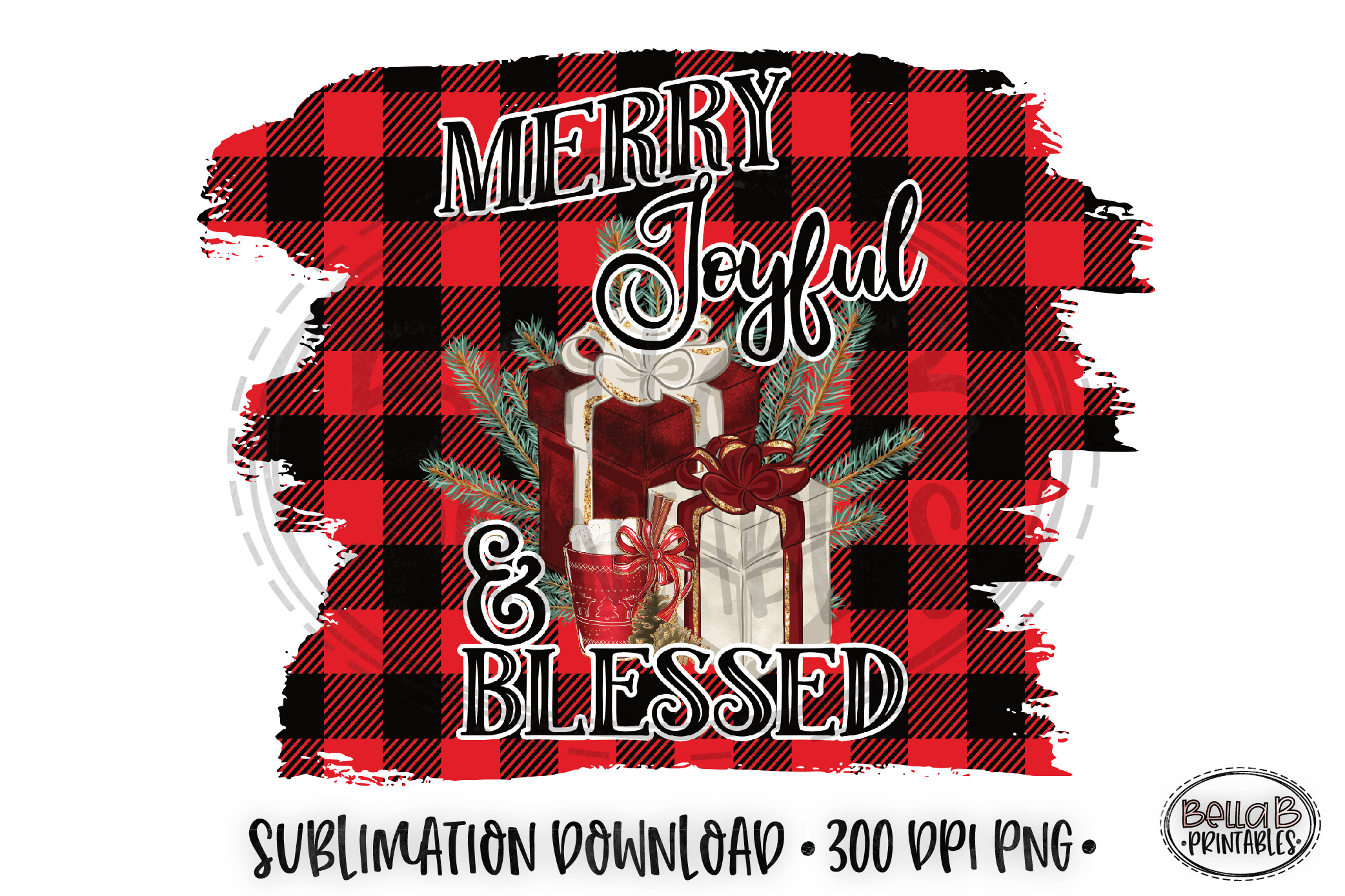 Christmas Sublimation Design, Merry Joyful and Blessed example image 1