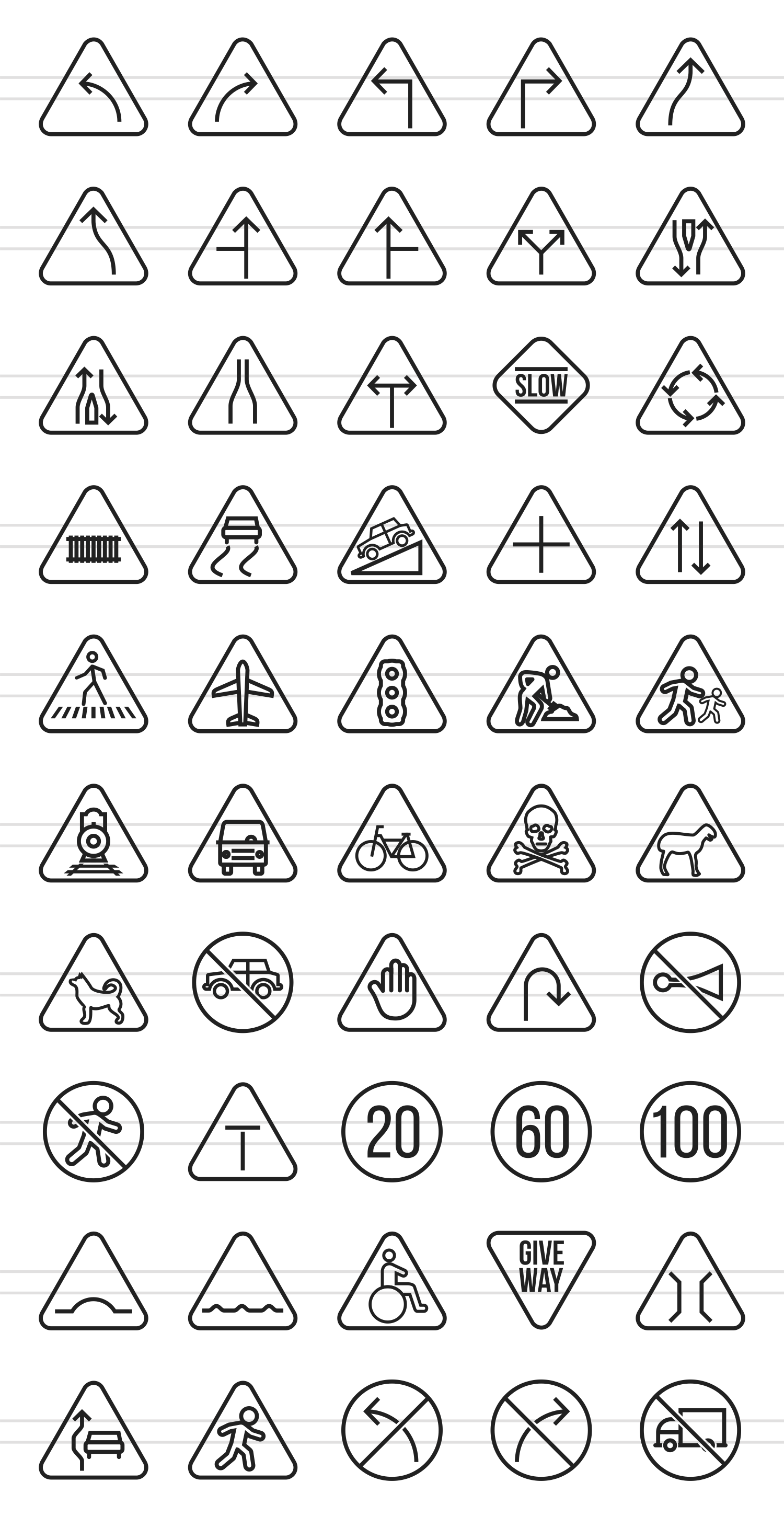 50 Traffic Signs Line Icons example image 2