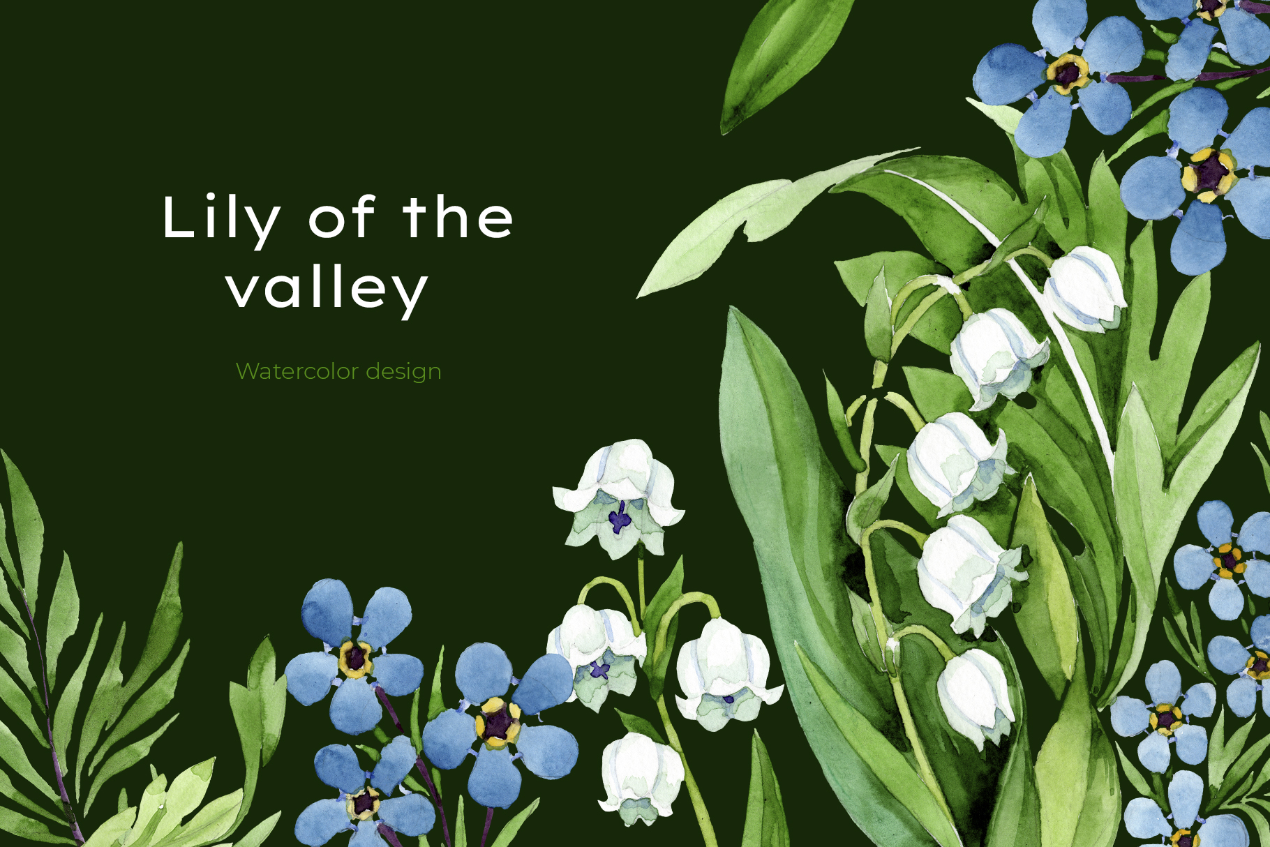 lily of the valley watercolor and forget-me-nots png example image 8