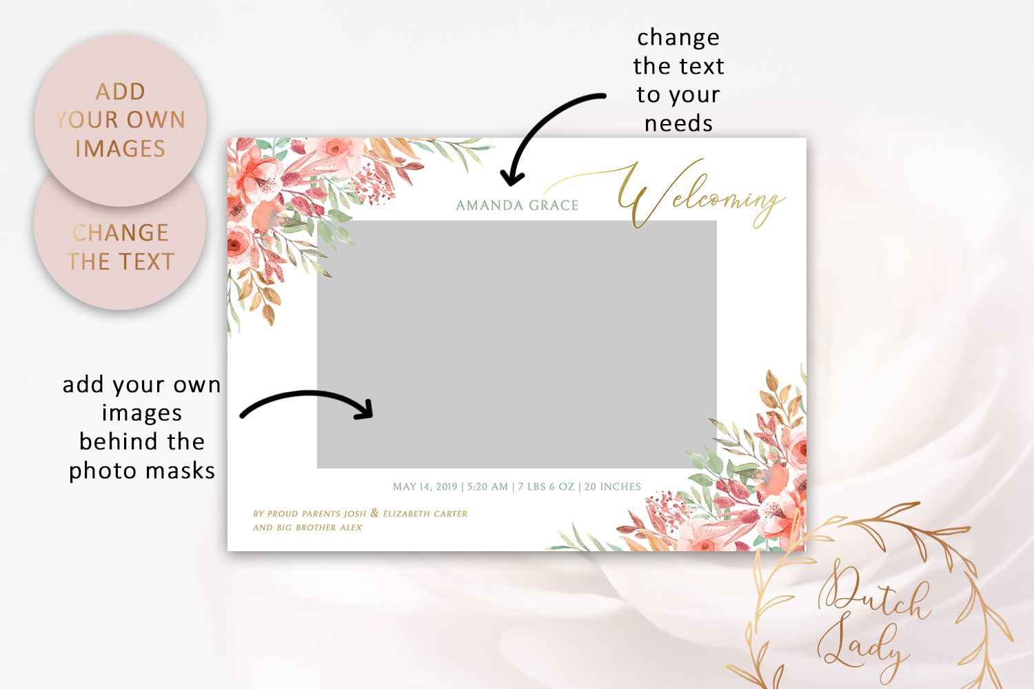 PSD Birth Announcement Card Template - Design #1 example image 2