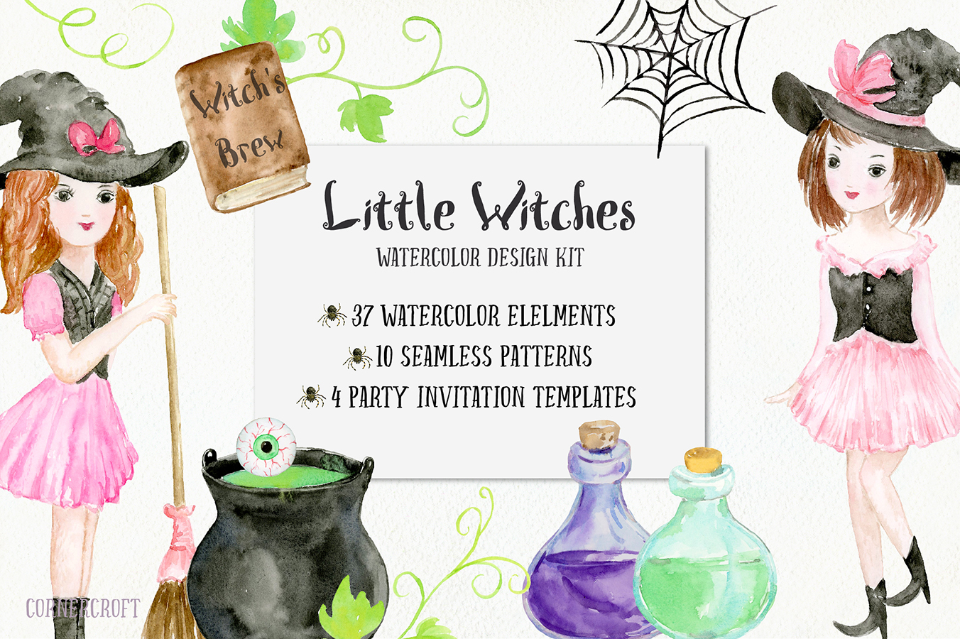 Little Witches Watercolor Design Kit example image 1