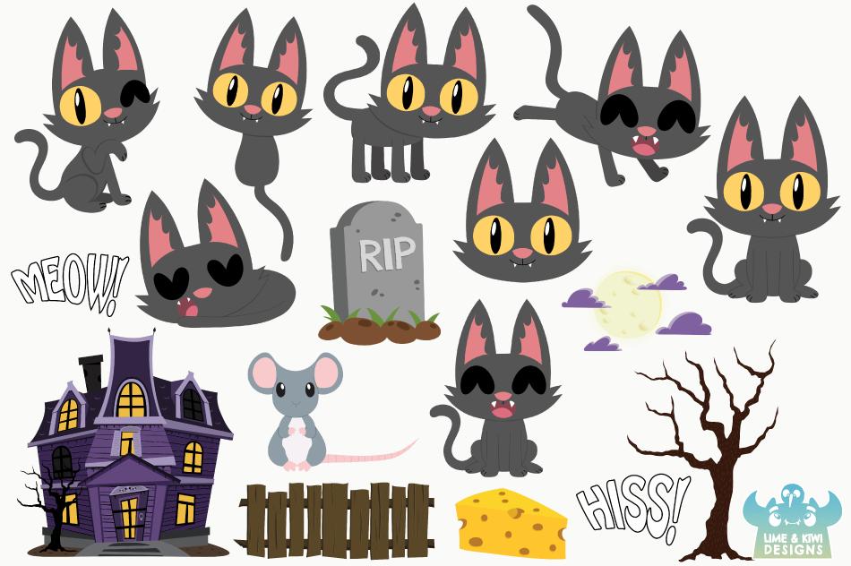 Halloween Cats 1 Clipart, Instant Download Vector Art example image 2