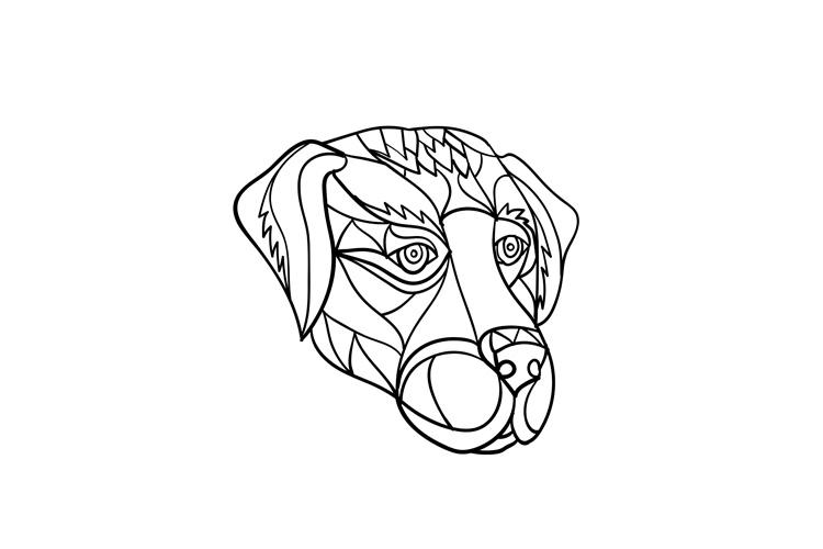 Labrador Dog Head Mosaic Black and White example image 1