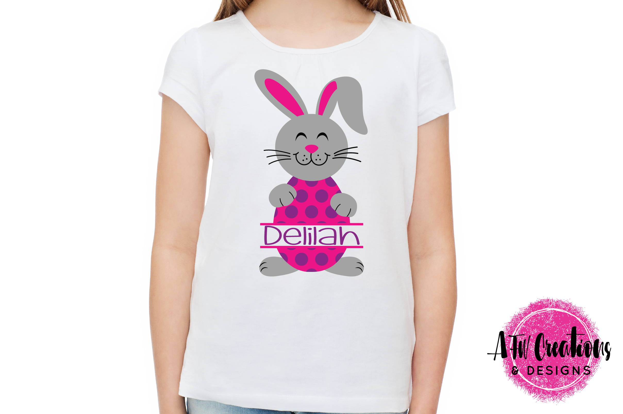 Split Easter Bunny Eggs- SVG, DXF, EPS Cut Files example image 2