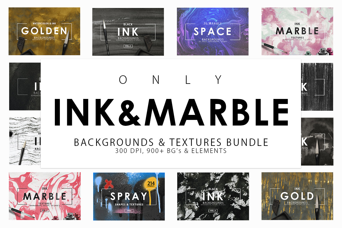 Only Ink & Marble Backgrounds Bundle example image 1
