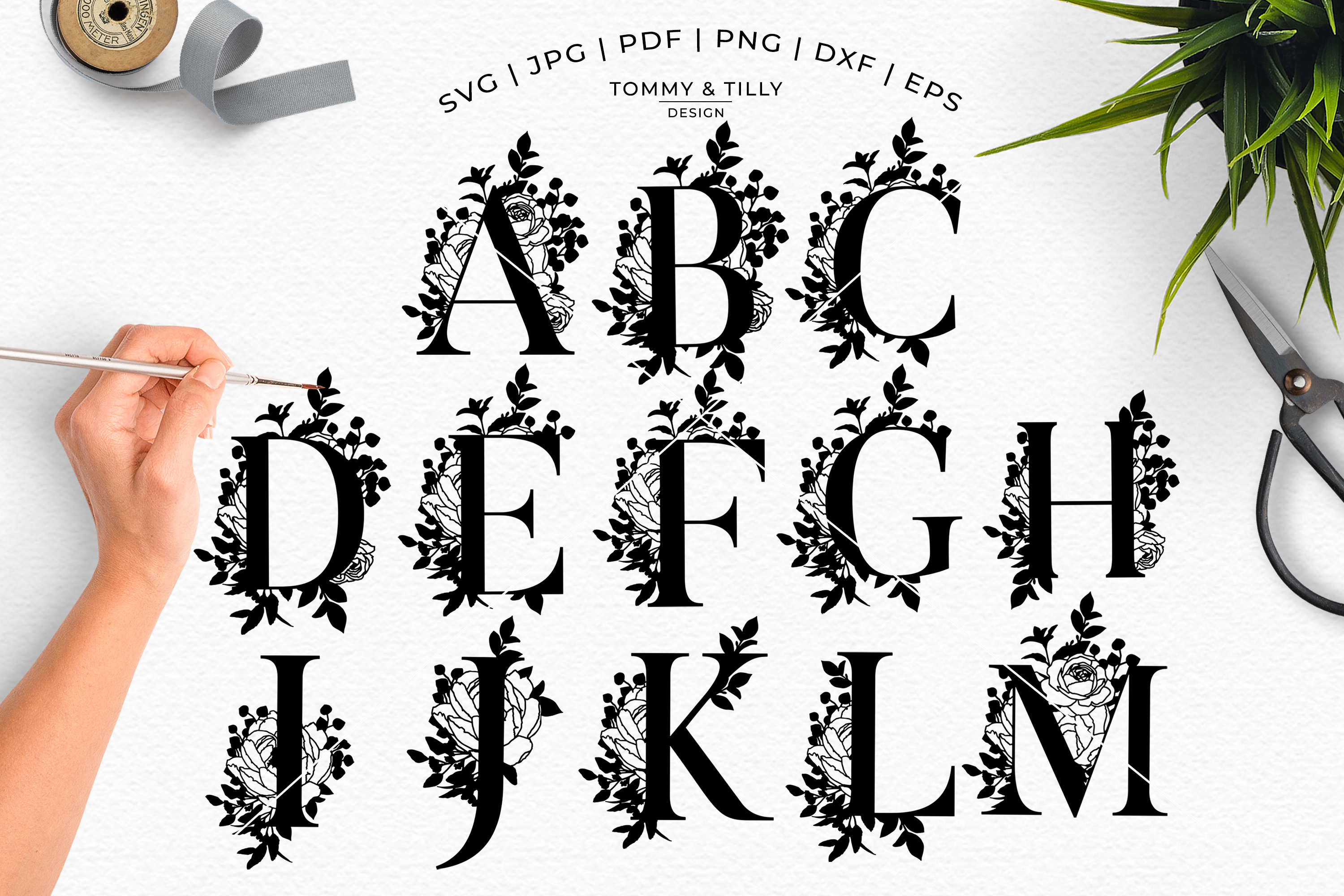 Bouquet Alphabet - Papercutting SVG DXF PNG EPS JPG PDF example image 6