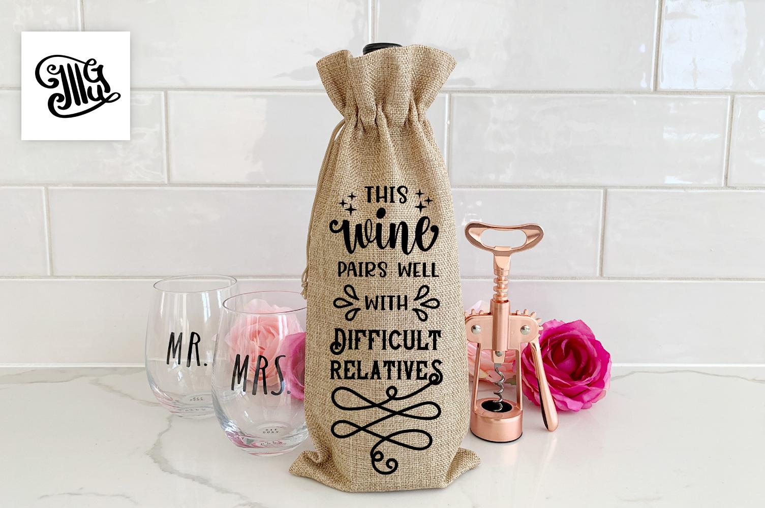 Christmas wine bag svg bundle example image 13