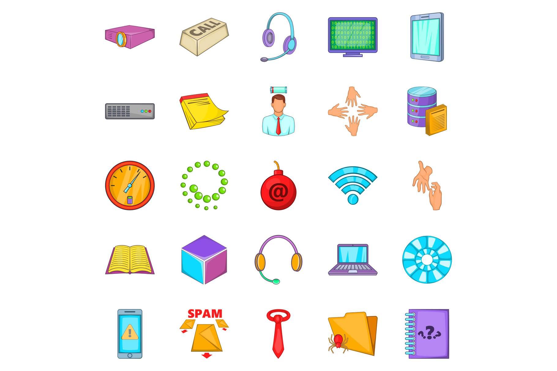 Workshop icons set, cartoon style example image 1