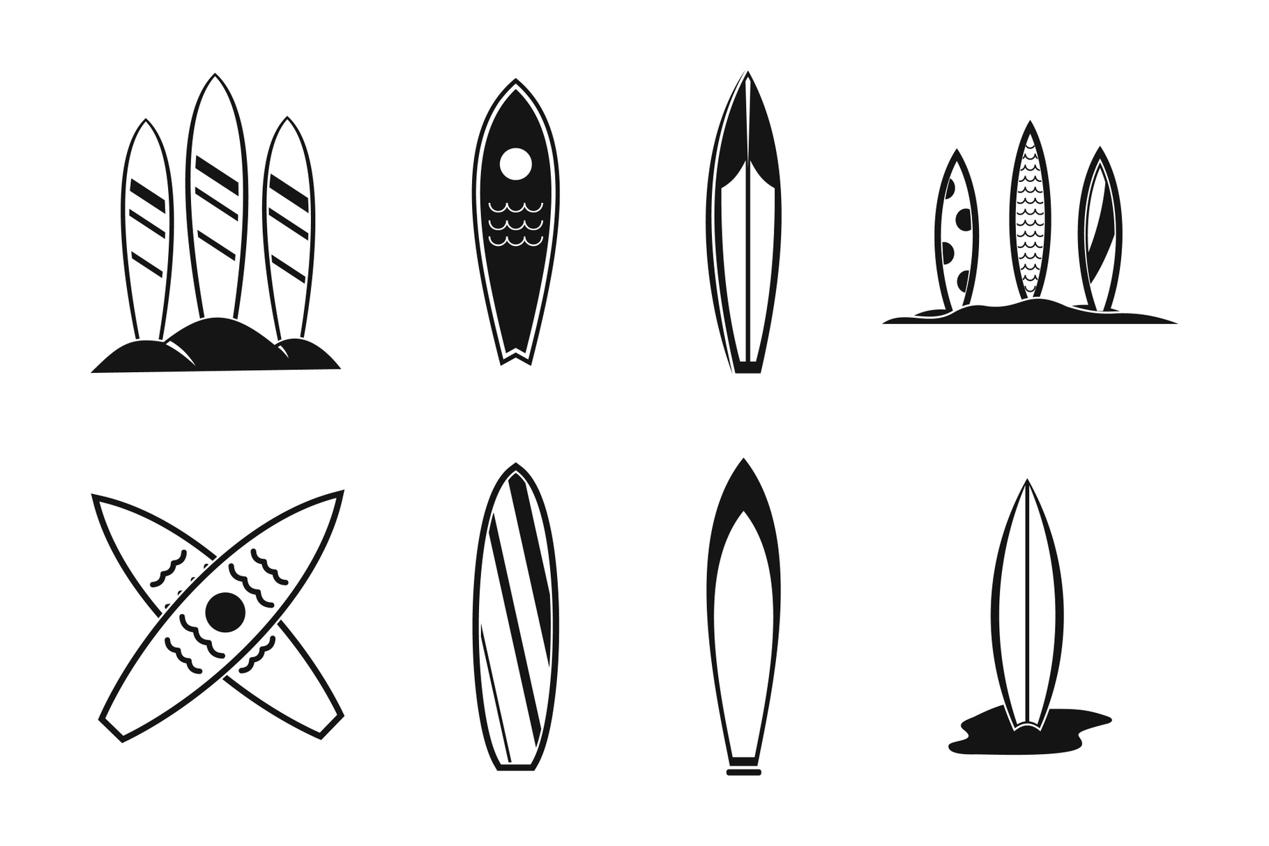 Surf board icon set, simple style example image 1
