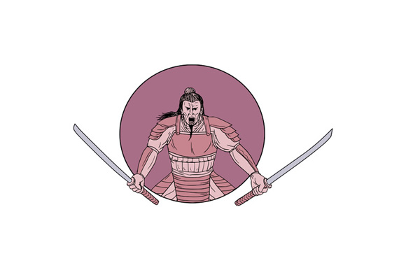 Raging Samurai Warrior Two Swords Oval Drawing example image 1