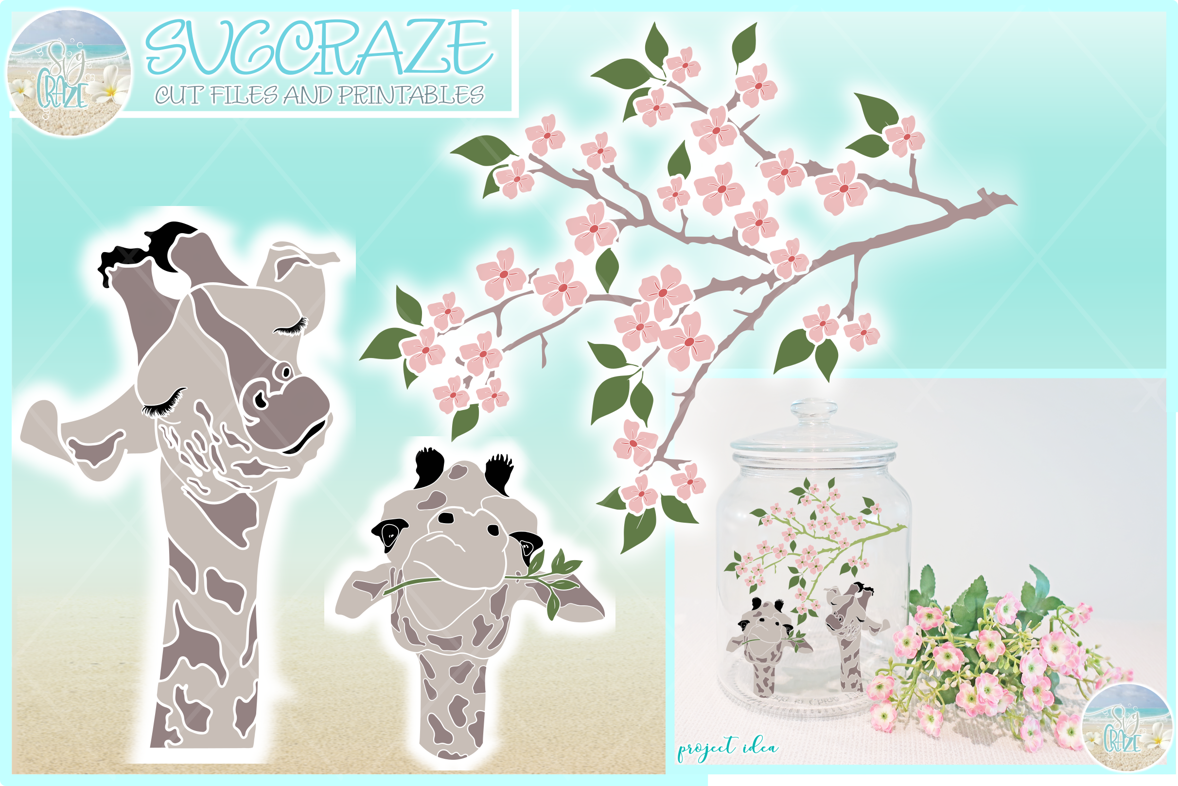 Cute Giraffe Faces with Flowering Tree Limb Svg Dxf Eps Png example image 1