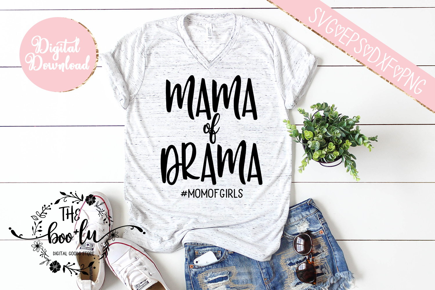 Mama of Drama #momofgirls SVG DXF PNG EPS Cutting Files example image 2