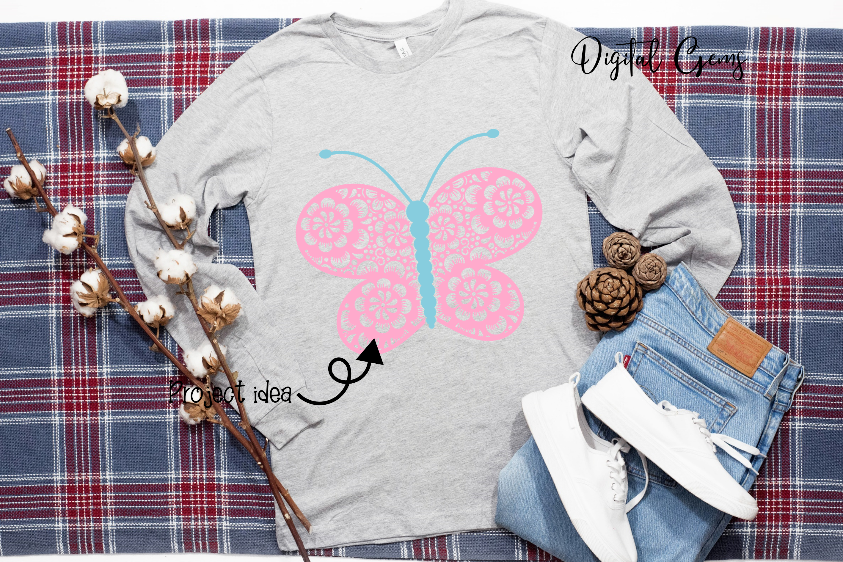 Butterfly SVG / DXF / EPS / PNG files example image 7