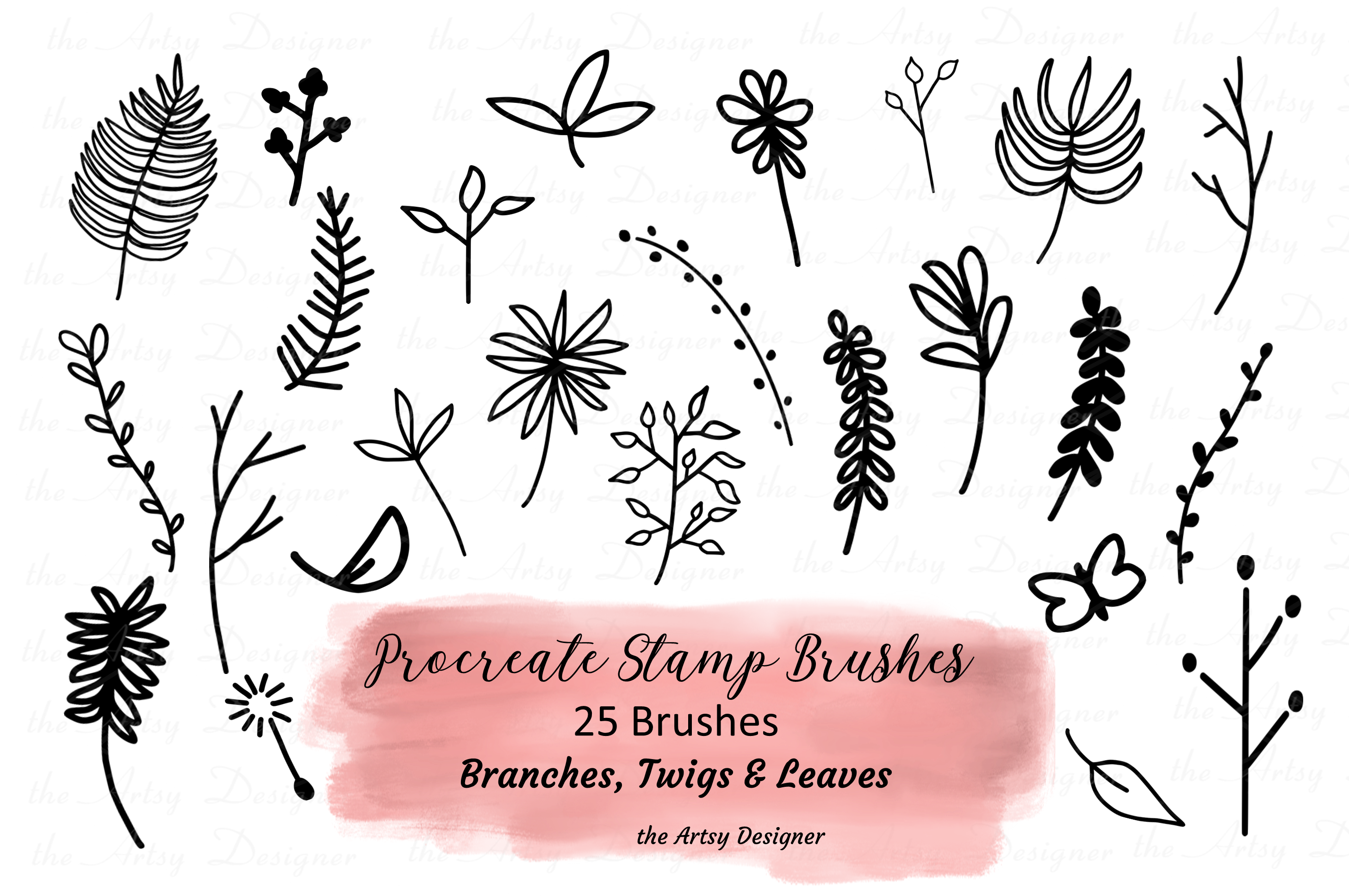 Procreate Brushes Stamps Branches Leaves Twigs Plants Bundle example image 1