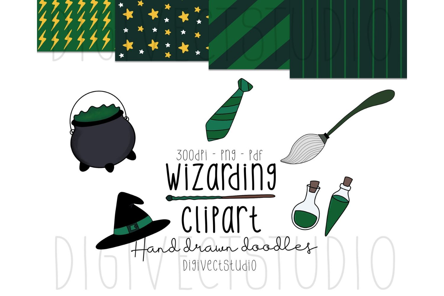 Wizarding Clipart Green - Witch Clipart - Wizard Clipart example image 1