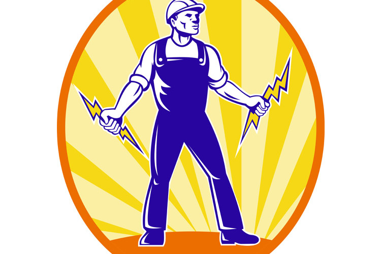 Electrician Repairman Holding Lightning Bolt example image 1