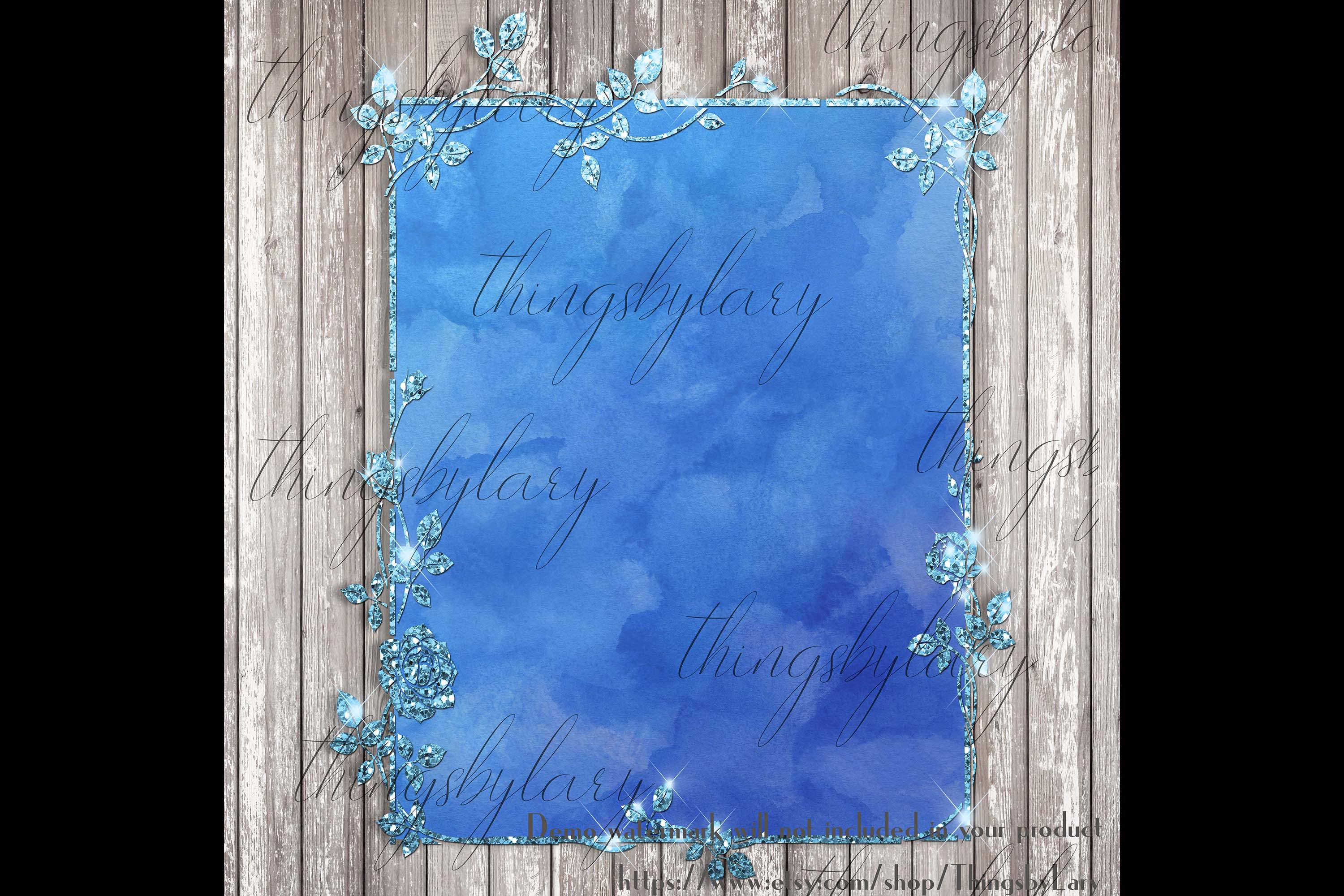 18 Glitter and Watercolor Leaf Branch Floral Frame Card example image 7