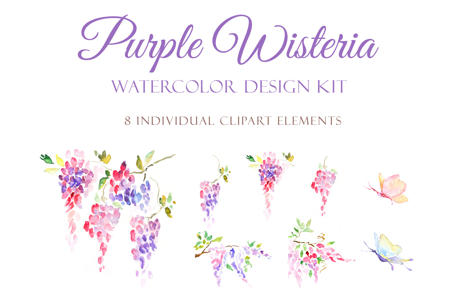 Watercolor Purple Wisteria - Handmade clipart and design kit  example image 3