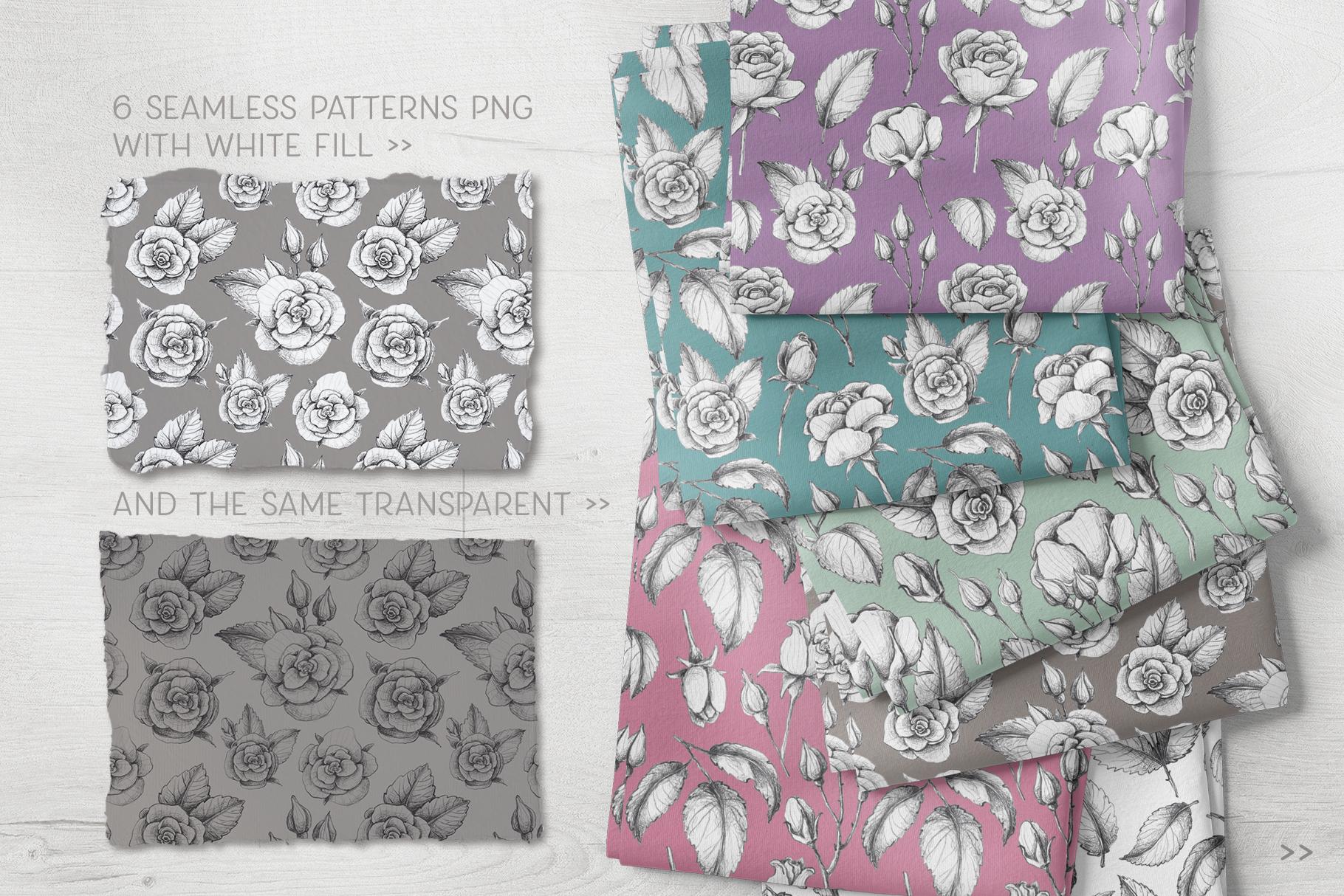 Sketched roses, patterns, frames example image 5