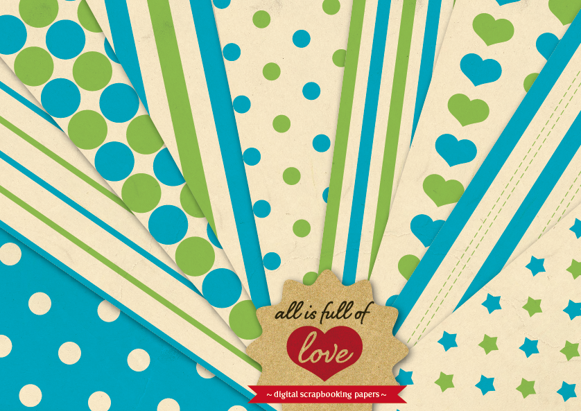 Retro Background Patterns in Blue and Green Digital Paper Pack with Stripes, Dots, Stars and Hearts example image 1