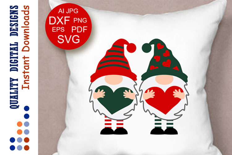 Gnomes with hearts svg Red and green example image 1