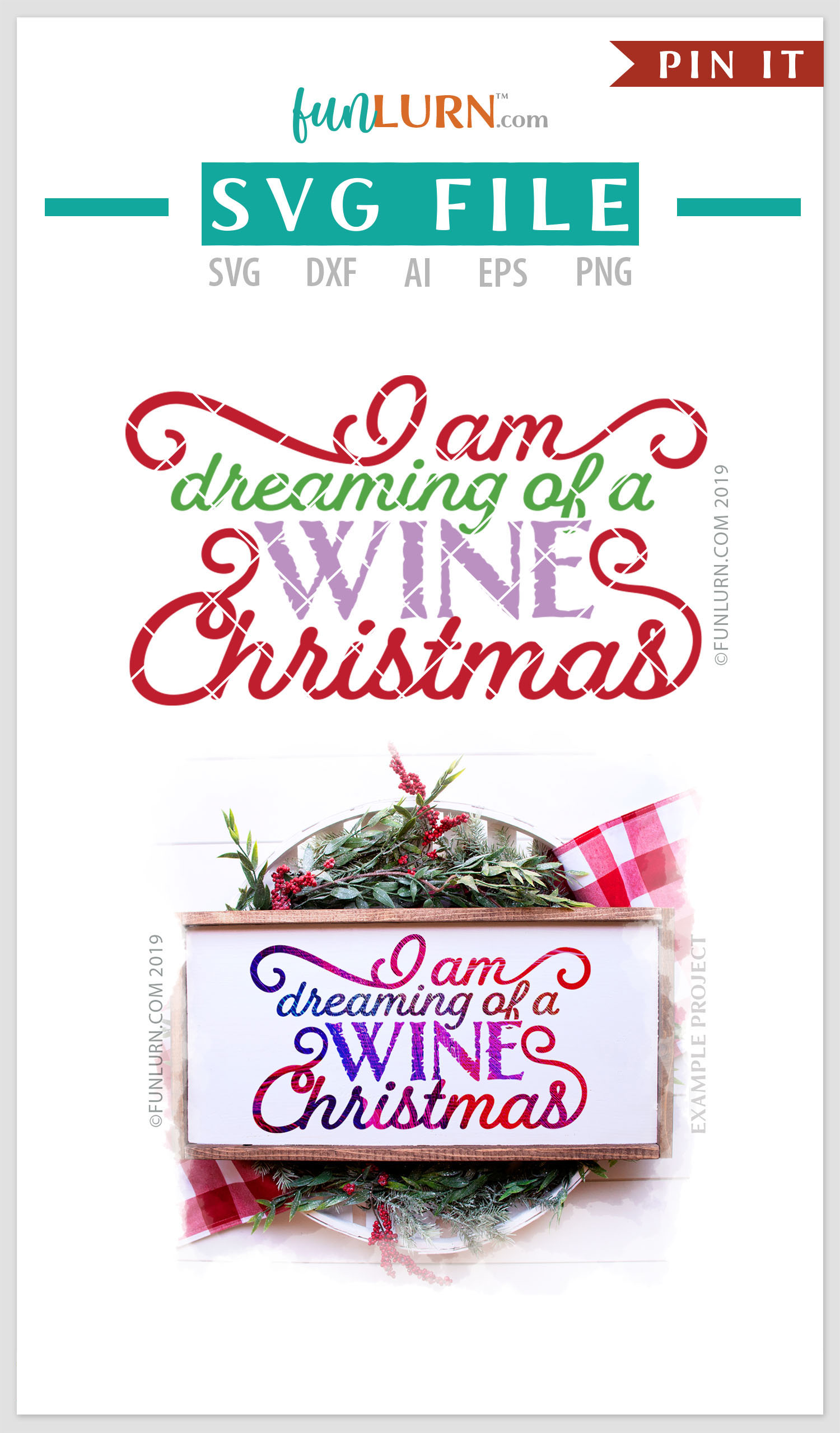 I Am Dreaming of a Wine Christmas SVG Cut File example image 4