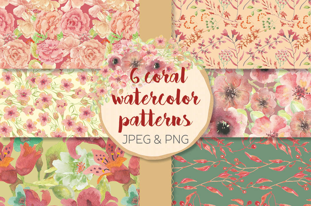Watercolor patterns in coral flowers example image 1