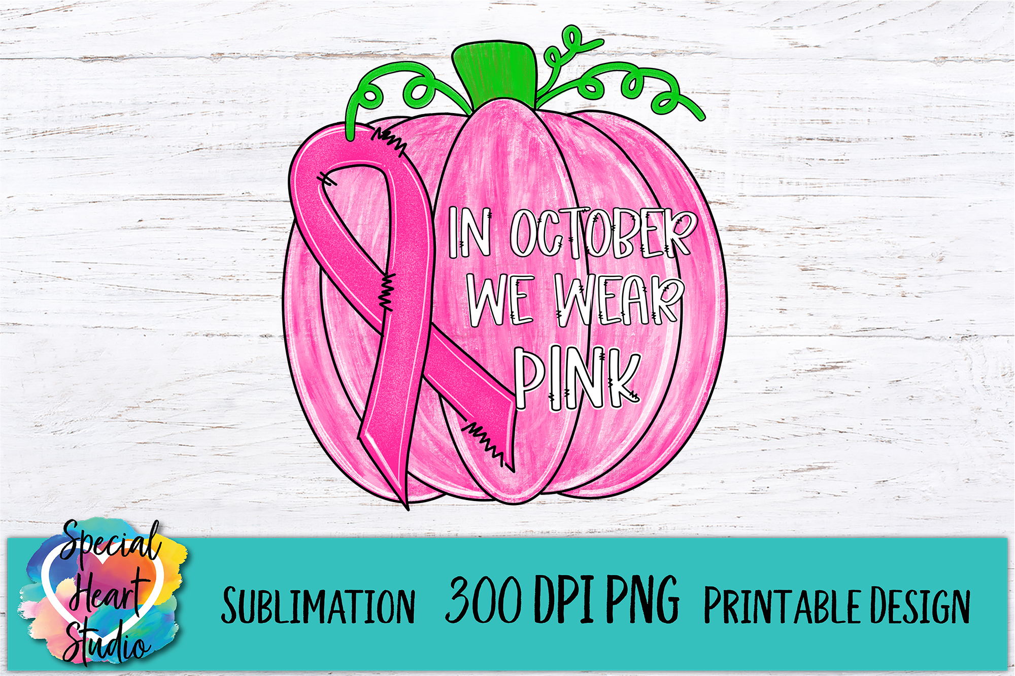 In October We Wear Pink Sublimation Design - Printable PNG example image 2