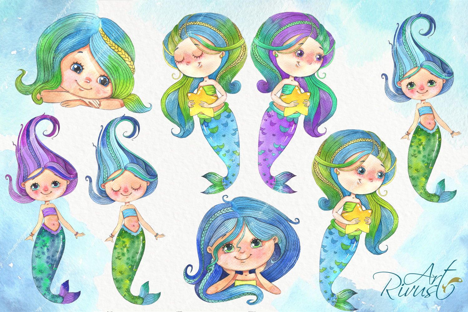 Cute mermaids clipart pack. Watercolor clip art baby shower example image 3